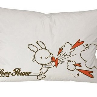 """Foufou"" pillow cover (single-entry) - Love Power (gray / white)"