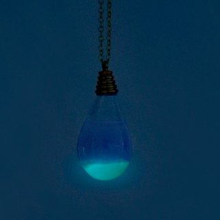 Anniversary Celebration Hall 9.5 fold / ocean wind / British sense of transparency glass ball necklace - blue sea water at night (Glow Limited Edition)