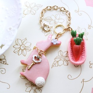 Hand-made Waltz - Miss Bunny and carrot fondant biscuit basket ~ simulation Bag Strap / keychain