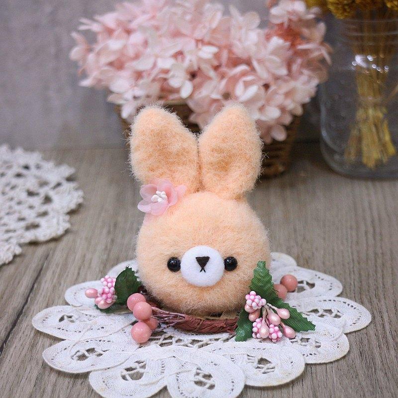 馬卡龍-兔-桃。鑰匙圈。吊飾