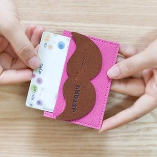 Mr.Babba Alice mustache velvet ticket holder S-peach powder, JST16024