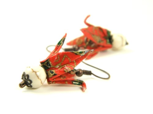Earrings origami (Tsuru Y01BOT2CBr)