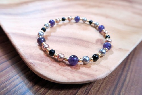 Mysterious kingdom ◆ purple - Swarovski Crystal Pearls / natural ore / bracelet bracelet gift custom design