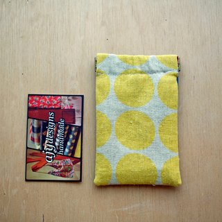Flex frame card wallet / coin purse with contrasting blue leather back (Large yellow polka dot print Liberty floral lining)