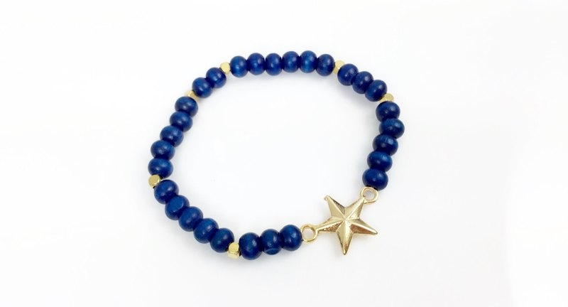 """Deep Blue wood beads x gold stars"""