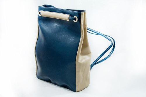 MINIMAL REAL LEATHER BACKPACK/CROSS BODY BAG-BLUE