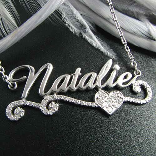 Customized SNP00067- .925 sterling silver jewelry name necklace flash diamond flower box