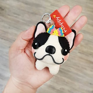 【Cattle Cat x City Cat】 French bulldog (double black streaks) Pure hand-stitched Valentine's Day gift custom-made name Memorial puppet pendant / key ring graduation gift birthday gift