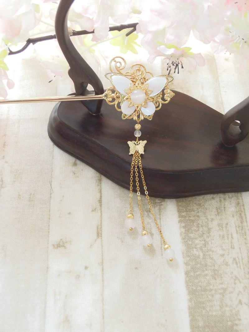 上云阁- Ten Miles Butterfly Classical Hairpin Steps Gold and Silver Two Colors Optional