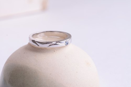 Promise series -River Love -handmade silver ring - Swarovski crystal