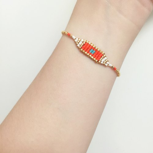 ololssim ethnic bracelet orange gold (0423)