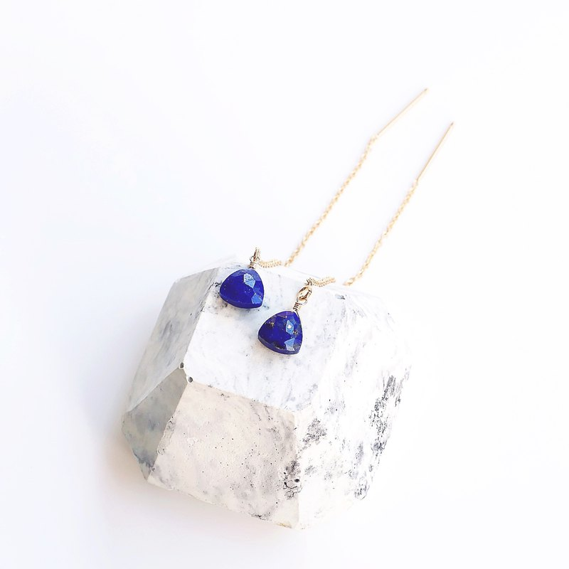 Simple ear chain natural lapis lazuli triangle rich sapphire blue 14K gift change clip good luck moonlight gift
