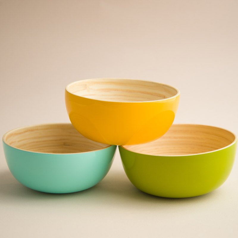 Natural handmade bamboo rice bowl (S)