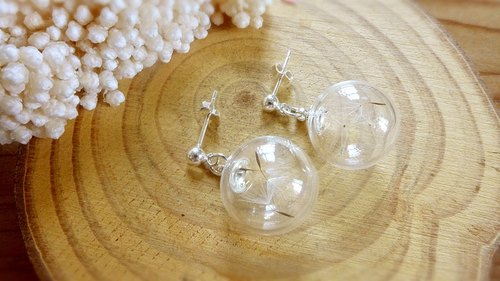 Sterling silver earrings [dandelion] -XIAO ◆ Favorite Season Series special Valentine's Day gift glass handmade dried flowers