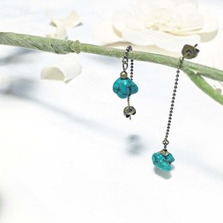Landing from the universe! / Find stones - Natural stone turquoise earrings