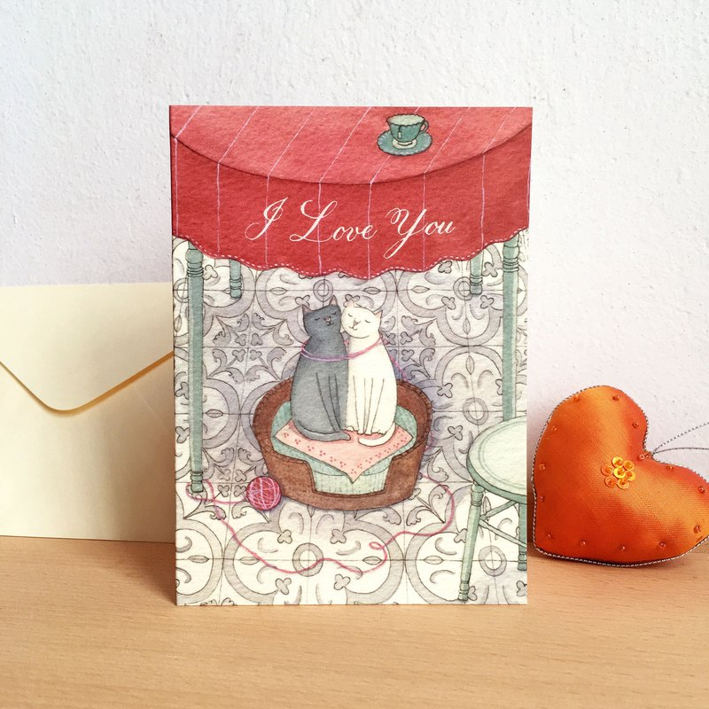 "Greeting card-""black & white cat""- i love you-with envelope"