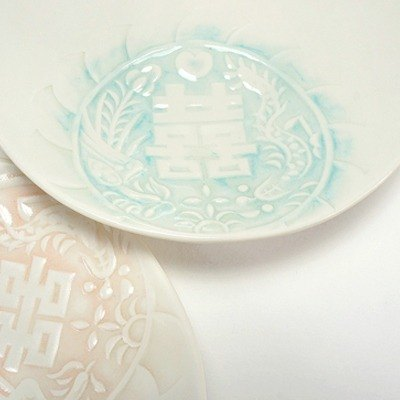 Wedding small things - dragon and phoenix double happiness - imprint deep plate - blue (1 into)