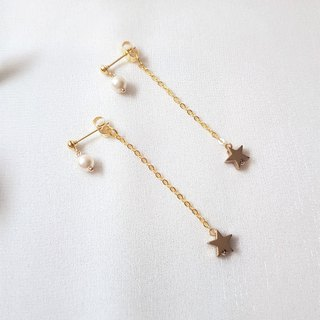 Southern Cross ‧ pearl brass earrings
