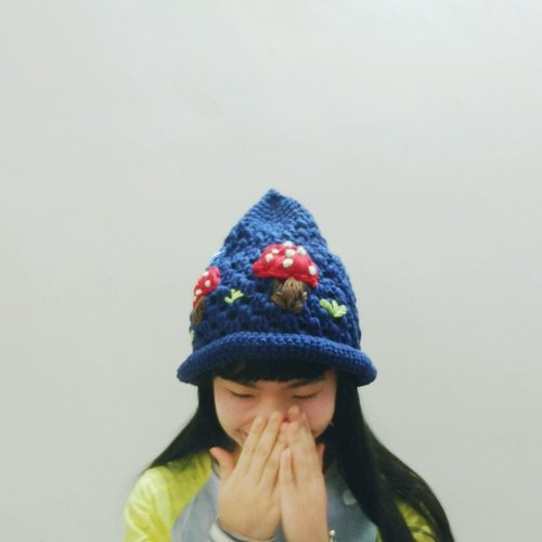 · Crocheted independent original series embroidery mushroom dark blue pointy hat winter Christmas gift