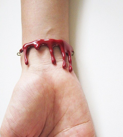 Bleeding Blood Bracelet / Red Enamel Jewelry / Punk Rock Adjustable Cuff / Woman Girl Fashion Unique Accessories