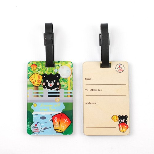 Great to see the waterfall - the Formosan black bear ˙Ω˙ Oh Lulu accompany wood texture travel * address * luggage tag designer / ※ can be customized printed wooden commemorative gifts ※