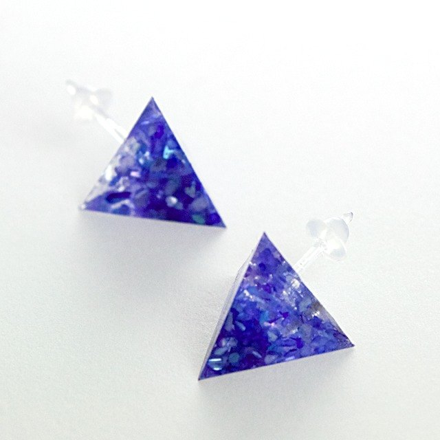 Triangle Earrings (Blue)