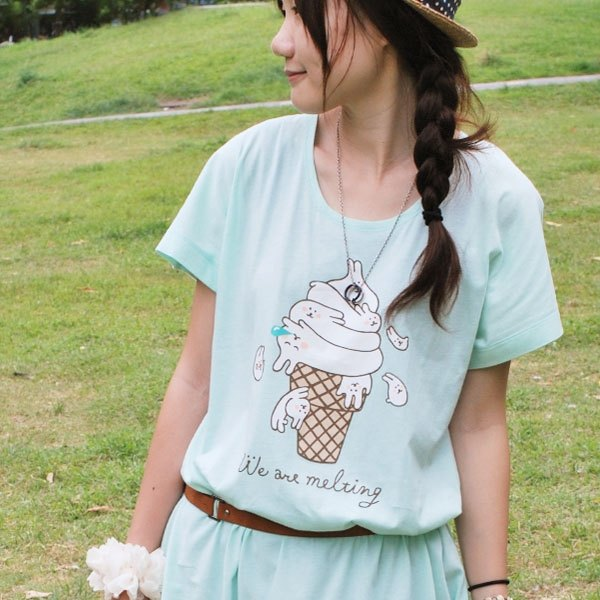 *Mori Shu*Rabbit Vanilla Ice Cream Dress Kick (Light Green)