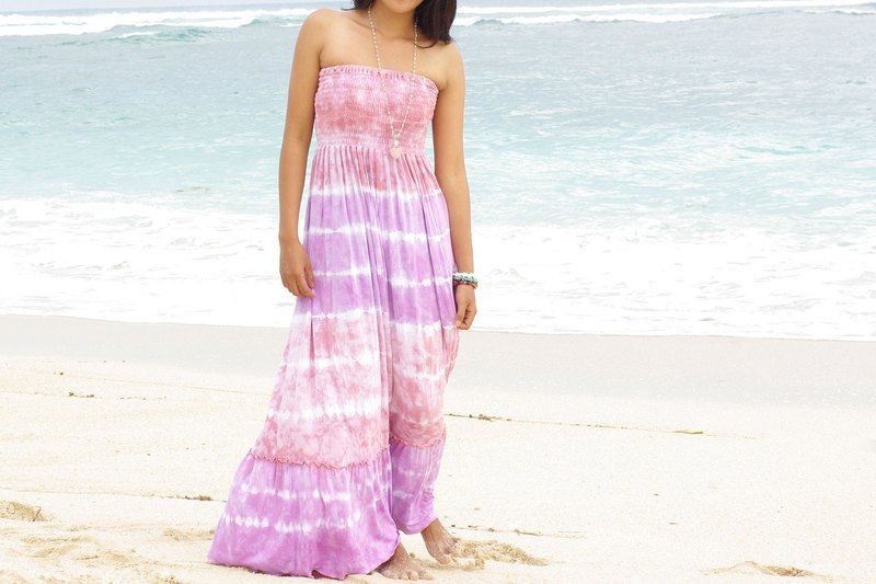 Tie Dye Strapless Ruffle Long Dress <Pinky Purple>