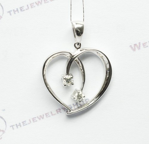 18K White Gold Diamond Ribbon Heart Shaped Pendant / Heart