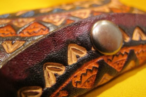Dyeing leather handle small purse - leather brand totem - Sunflower