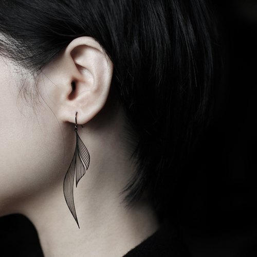 黑漣漪耳環 Black Ripple Earrings