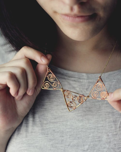 Geometry - Necklace N01 ( triangle with vine )