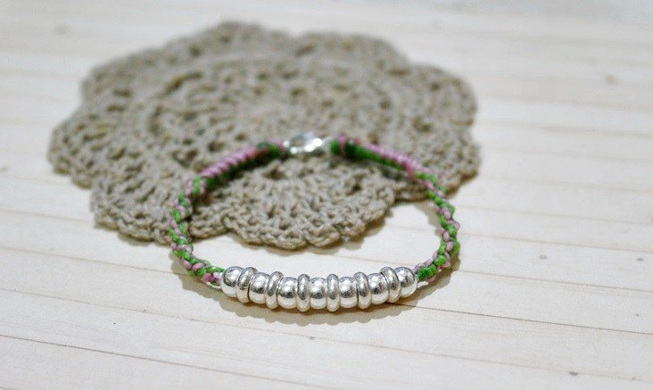 Thailand wax line silk silver _ X can be chosen color circle knot // //