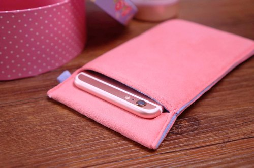 Ob2【GOLDEN PINK X TRANQUIL BLUE】 Cleaning-Fiber cell phone pouch