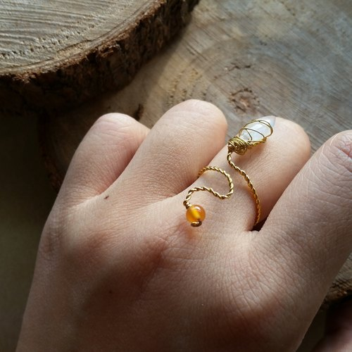 Moon stone, orange agate stone gold plated ring please ask ring size when order gold-plated Silver-plate chain Ring with moonstone and agate