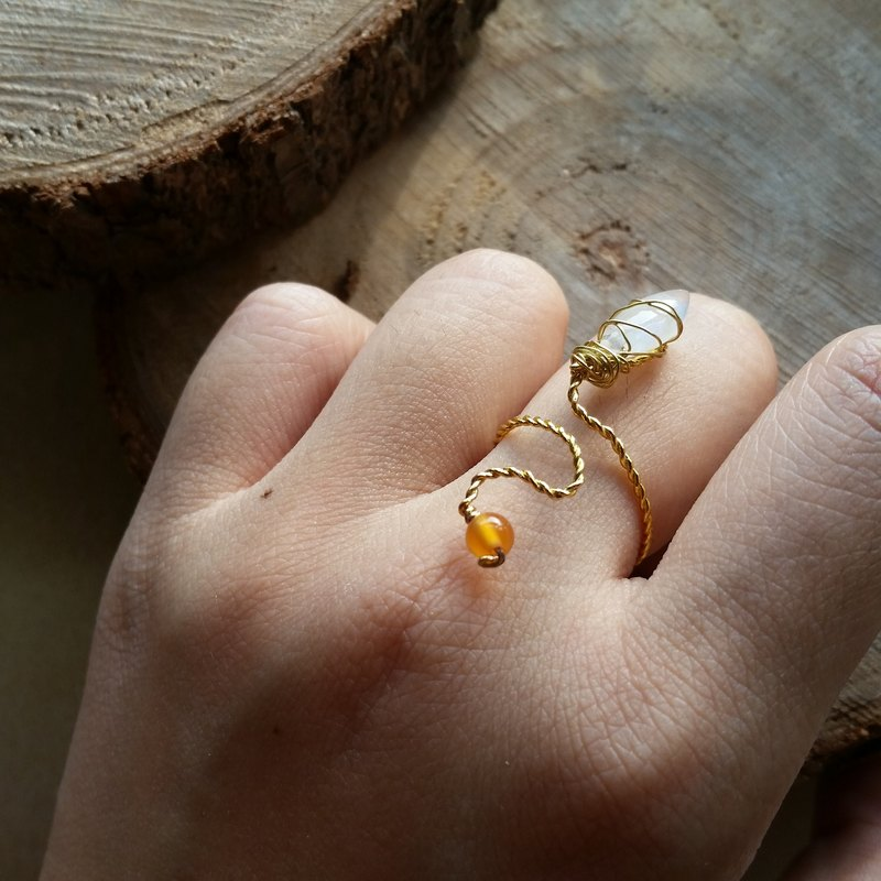 月亮石 , 橙瑪瑙石 鍍金戒指 please provide ring size when order gold-plated Silver-plate chain Ring with  moonstone and agate