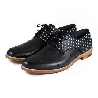 Snowdrop M1091 Stitching PolkaDot Leather Derby shoes