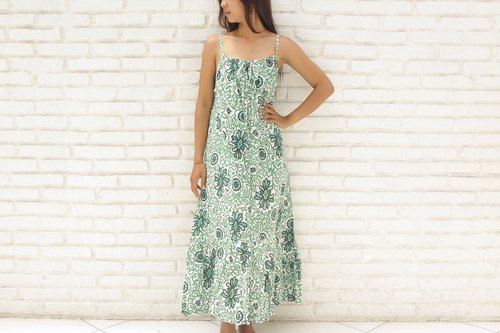 Batik Flower Ruffle Long Dress <Green>
