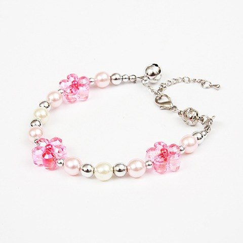 Ella Wang Design flower pearl necklace - pink kitty cat collar pet collar necklace handmade fashion