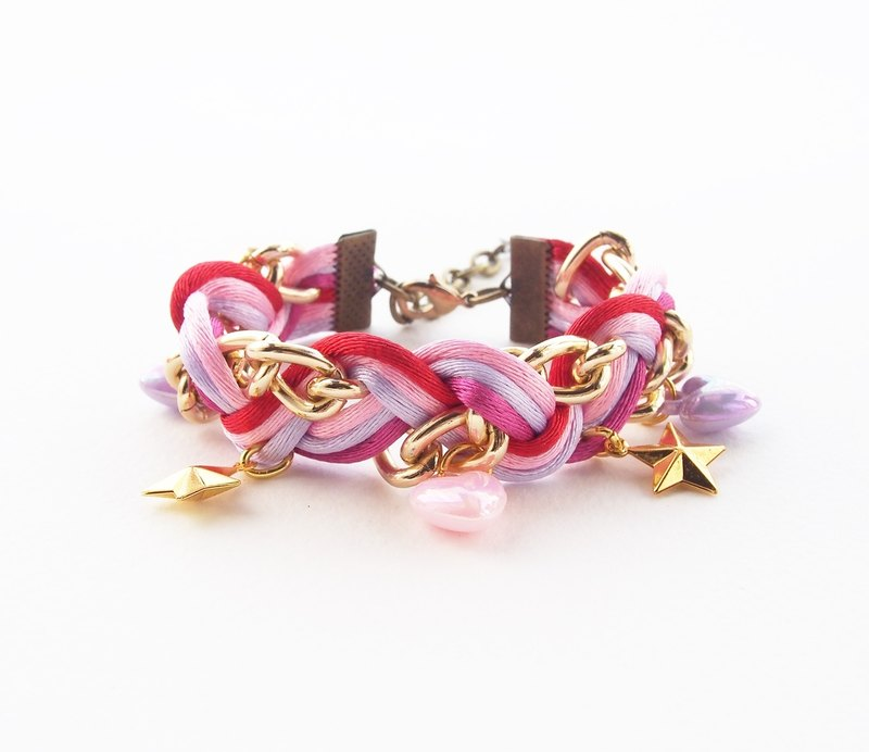 ♥ ELBRAZA ♥ Red braided bracelet with gold chian.