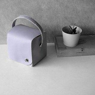 zemoneni leather box bag with turning lock  front cover in Light purple
