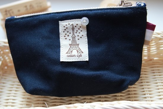 Cotton Fabric: Toiletry Bag, Makeup Pouch, Cosmetic Pouch, Cosmetic Bag, Deep Blue Canvas