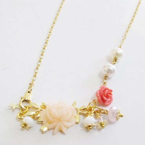 [HNL0019] [Featured necklace] colorful pattern pearl necklace