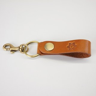 Color leather key ring -tan