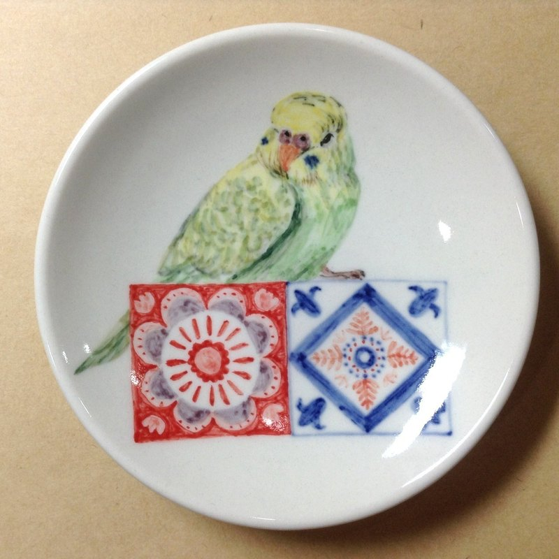 Love tiger tiles - painted parrots saucer