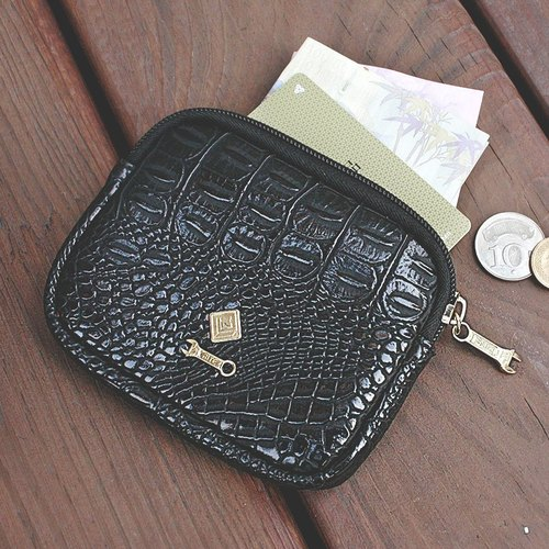 [RITE brand branded plated purse black crocodile leather limited edition]
