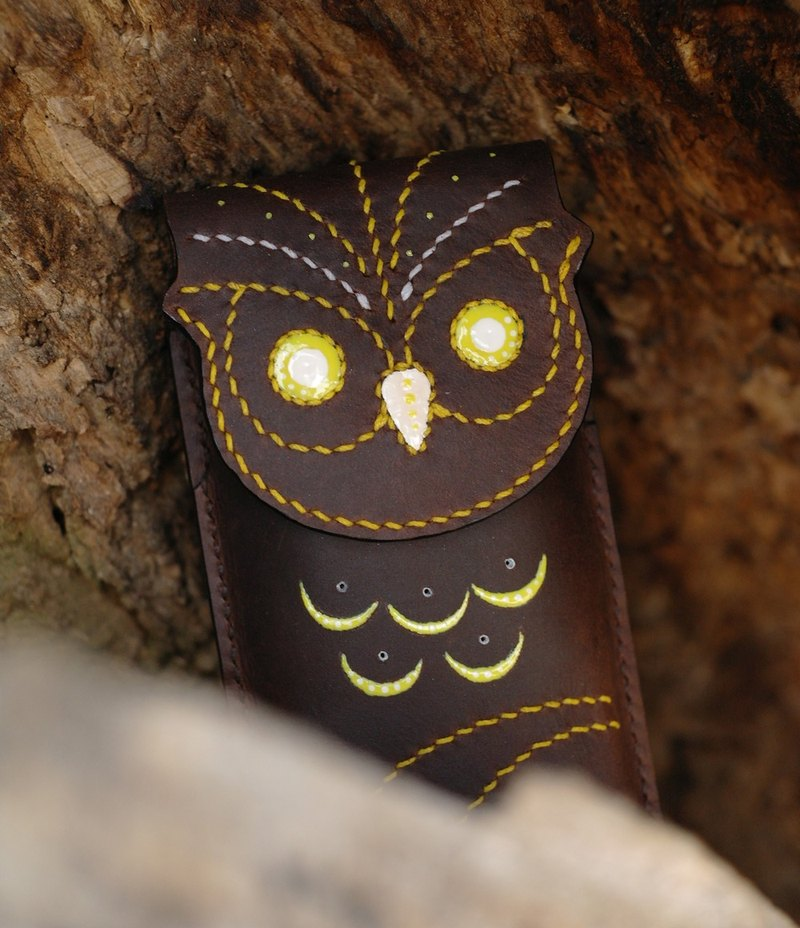 Hand-stitched brown pen pen Owl Pen case 150102