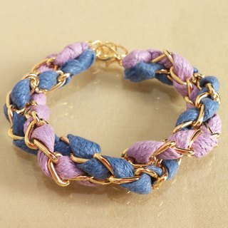 ~ Fairy tale - a double circle color wax rope bracelet ~ ~ purple lavender violet + blue and gray