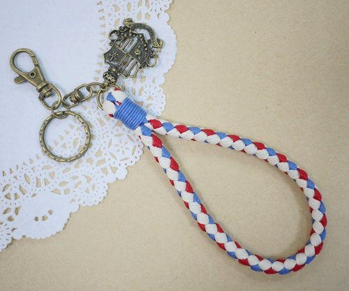 ~ M + Bear ~ vintage braided wire braided wax keychain key ring (four shares edge: red, white and blue lines)