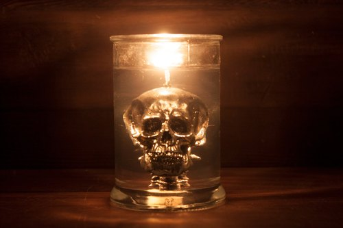 EYE LAB Collection - Silver Skull In Jar Candle